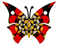butterfly red black gold